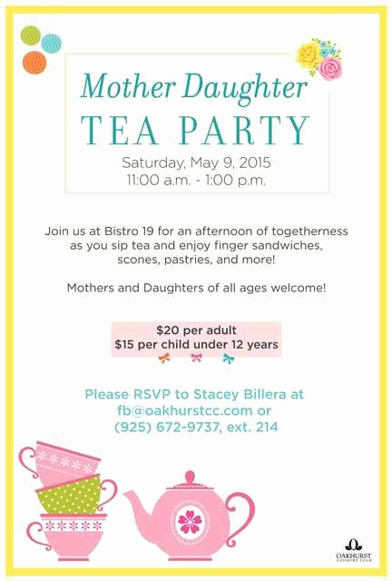 Mothers Day Tea Invitation Elegant Mother Daughter Tea Party Poster Flyer Template at