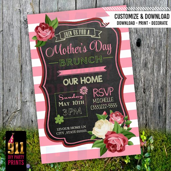 Mothers Day Tea Invitation Elegant Mother S Day Brunch Party Invitation Pink