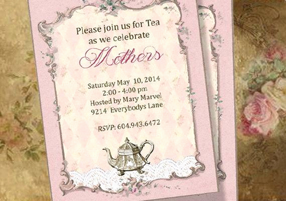 Mothers Day Tea Invitation Elegant Tea Party Invitations Custom Printable Bridal Shower Baby
