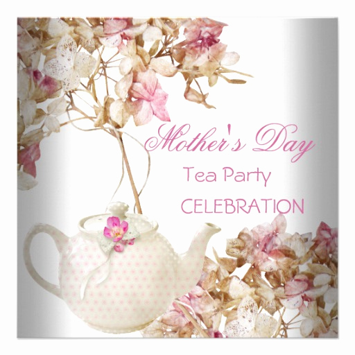 "Mothers Day Tea Invitation Fresh Mother S Day White Pink Floral Tea 5 25"" Square Invitation"