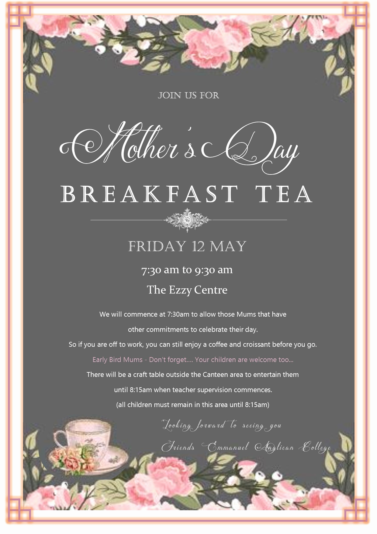 Mothers Day Tea Invitation Inspirational Mother S Day Breakfast Tea Emmanuel Anglican College