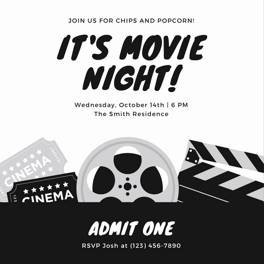 Movie Night Invitation Template Awesome Customize 646 Movie Night Invitation Templates Online Canva
