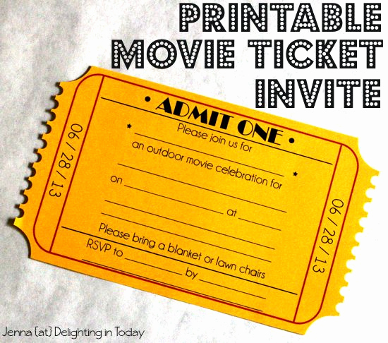 Movie Night Invitation Template Beautiful Free Printable Movie Ticket Invite Video Tutorial On