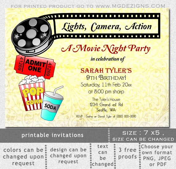 Movie Night Invitation Template Beautiful Items Similar to Printable Movie Night Birthday Party