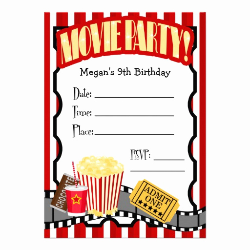 Movie Night Invitation Template Best Of Movie Night Any Occasion Fill In Party 5x7 Paper