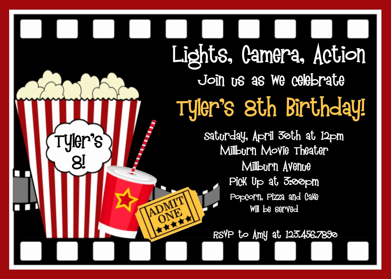 Movie Night Invitation Template Elegant Movie Birthday Invitations Movie Night Birthday Party