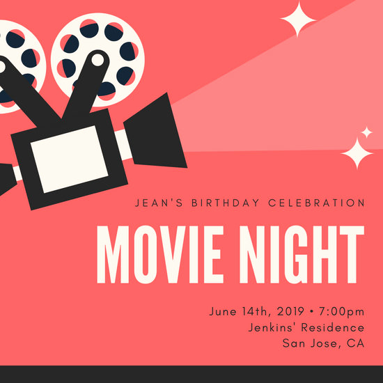 Movie Night Invitation Template Fresh Customize 183 Movie Night Invitation Templates Online Canva
