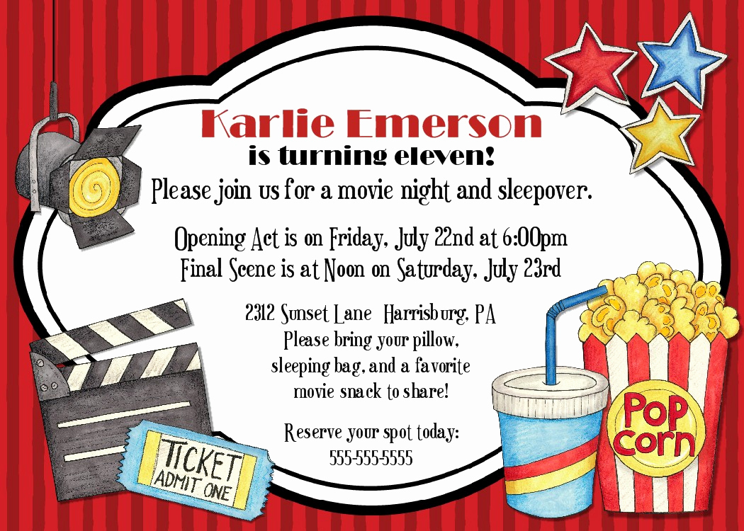 Movie Night Invitation Template Fresh Free Movie Ticket Invitation Template Free Excel Template