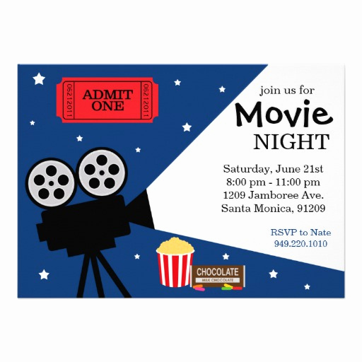 "Movie Night Invitation Template Fresh Movie Night Invitation 5"" X 7"" Invitation Card"