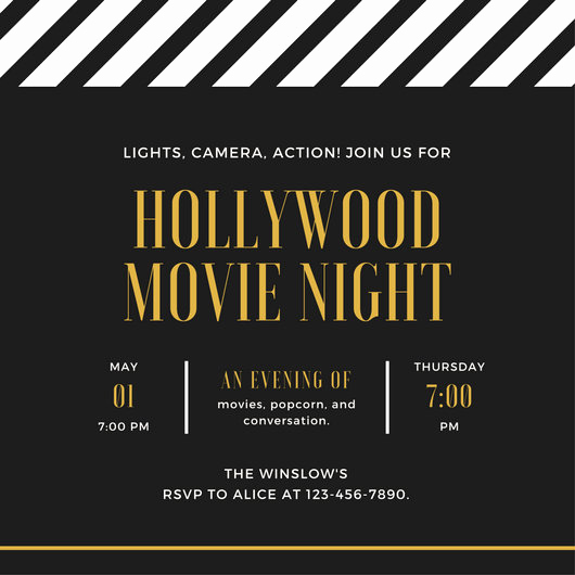 Movie Night Invitation Template Inspirational Movie Night Invitation Templates Canva