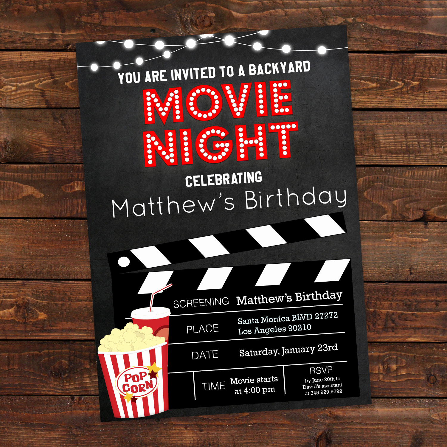 Movie Night Invitation Template Lovely Printable Backyard Movie Night Party Invitation Movie Night