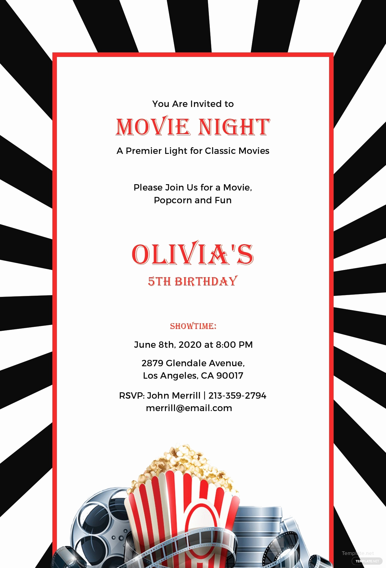 Movie Night Invitation Template Luxury Free Movie Night Invitation Template In Adobe Shop
