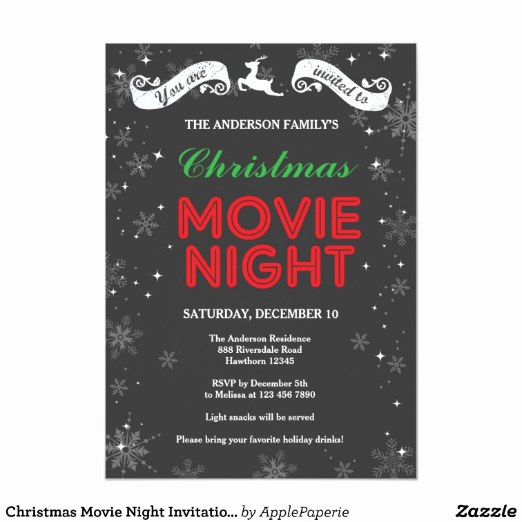 Movie Night Invitation Template New Christmas Movie Night Invitation Christmas Movie Card