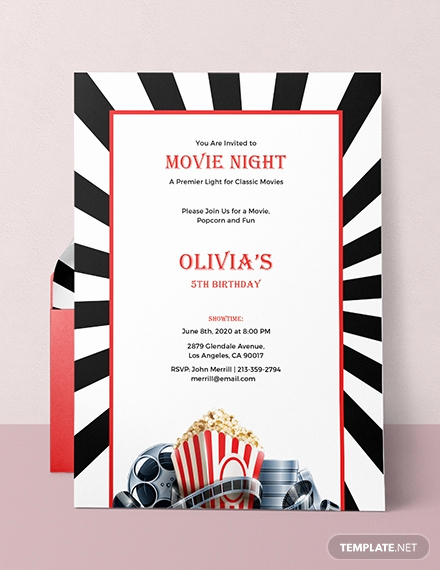 Movie Night Invitation Template New Free Movie Night Invitation Template In Adobe Shop