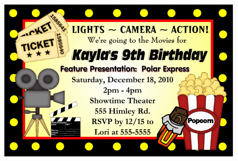 Movie Night Invitation Template Unique Movie Night Birthday Party Invitations Hollywood
