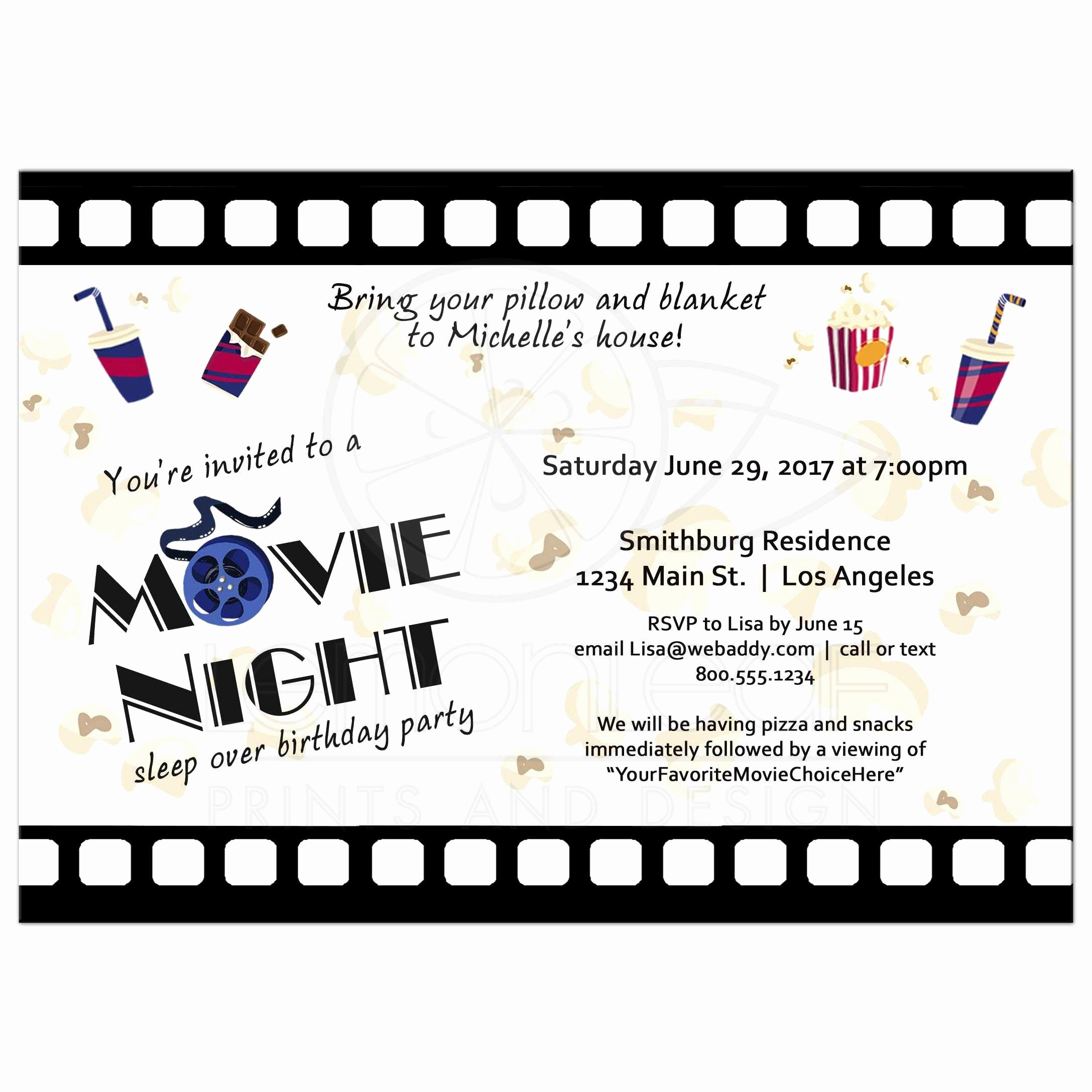 Movie Night Invitation Template Unique Strip Movie Night Sleepover Birthday Party Invitation