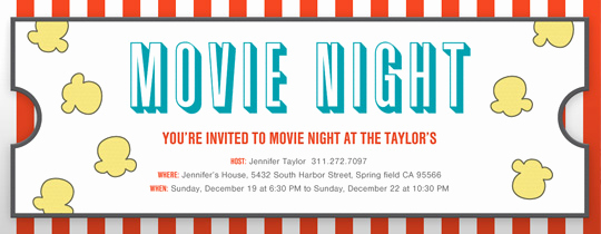 Movie Night Invitation Templates Awesome Birthday for Kids Free Online Invitations