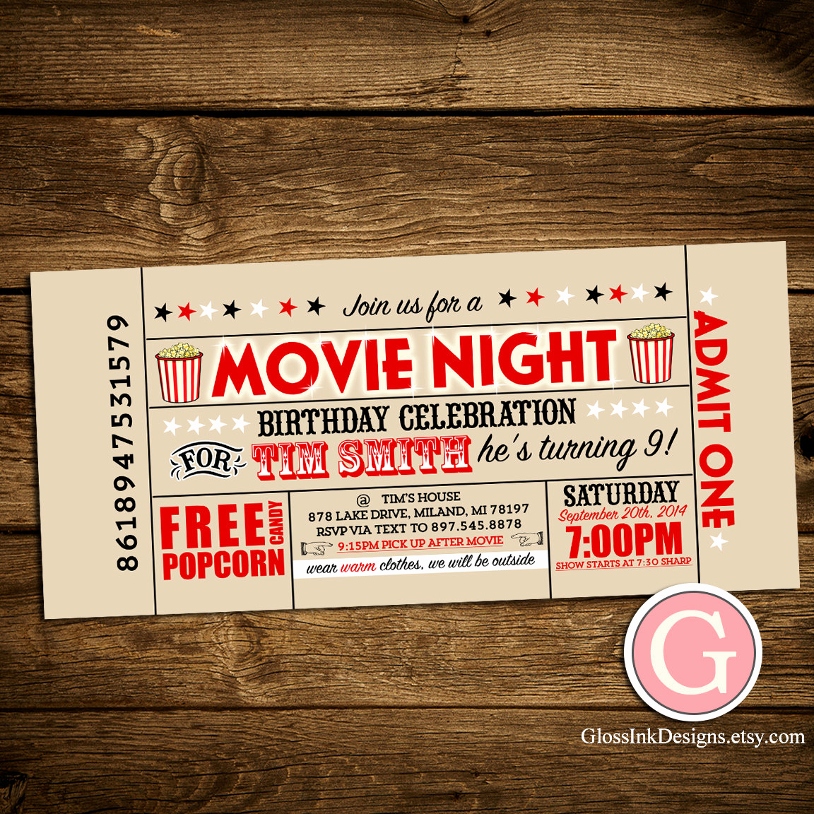 Movie Night Invitation Templates Best Of Movie Night Invitation Vintage Ticket Style by Glossinkdesigns