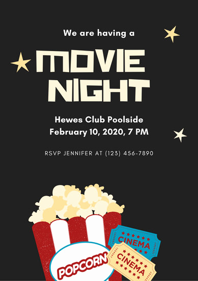 Movie Night Invitation Templates Elegant Customize 230 Movie Night Invitation Templates Online Canva