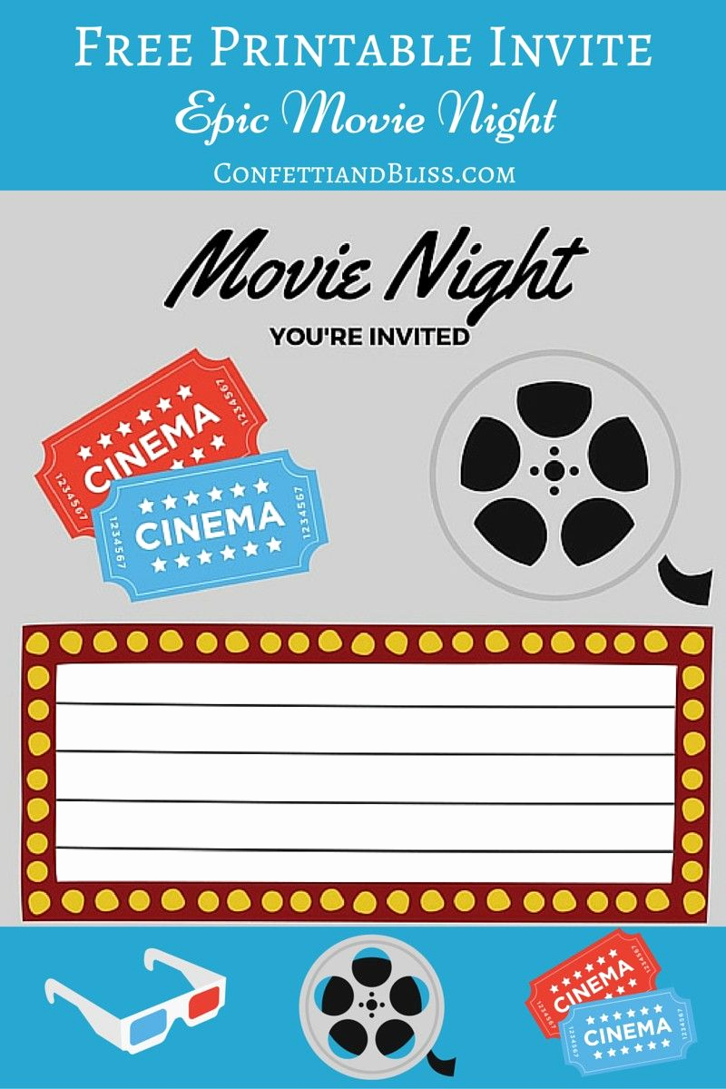 Movie Night Invitation Templates Elegant Free Printables for Him