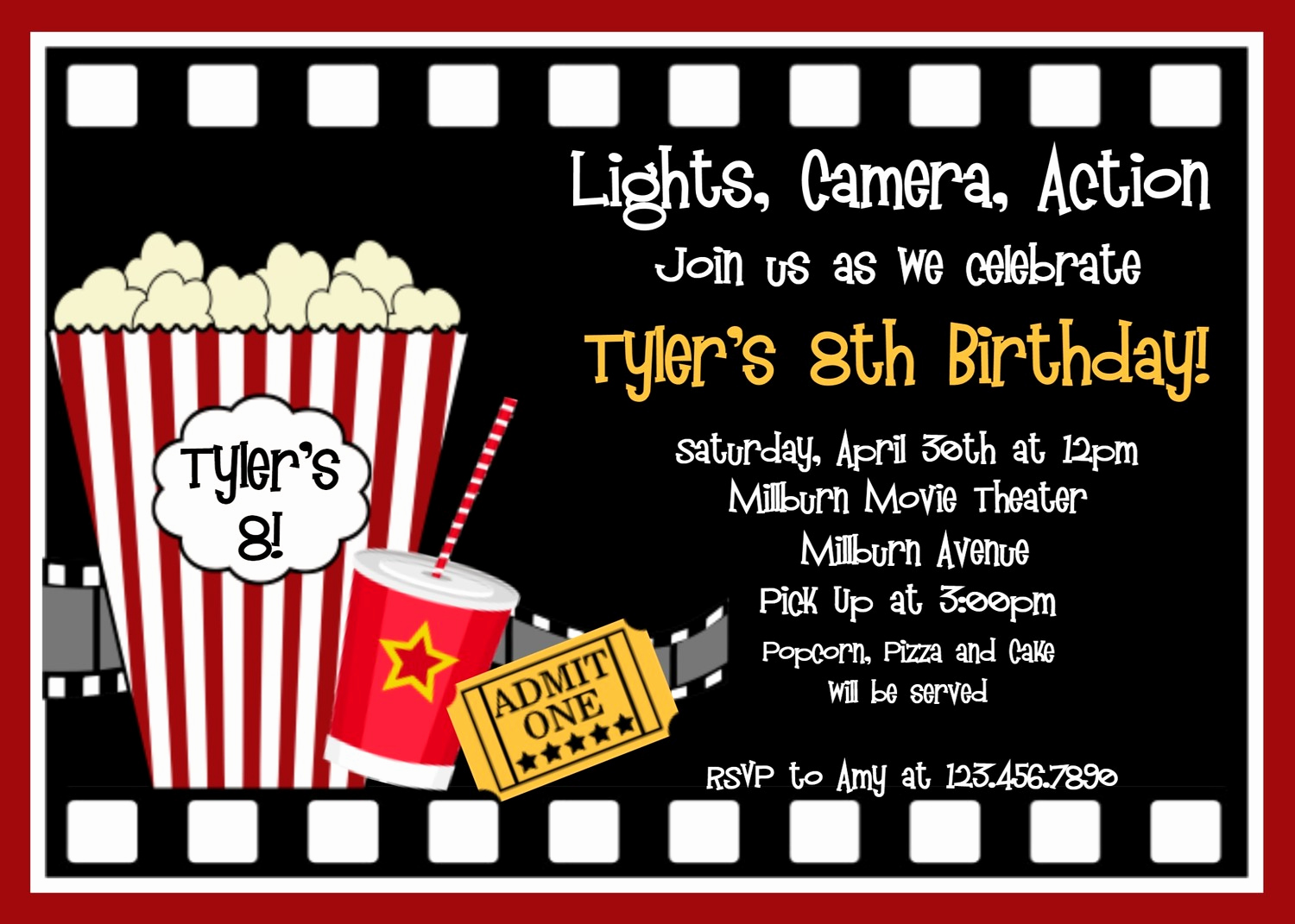 Movie Night Invitation Templates Elegant Printable Birthday Invitations Movie Party Movie