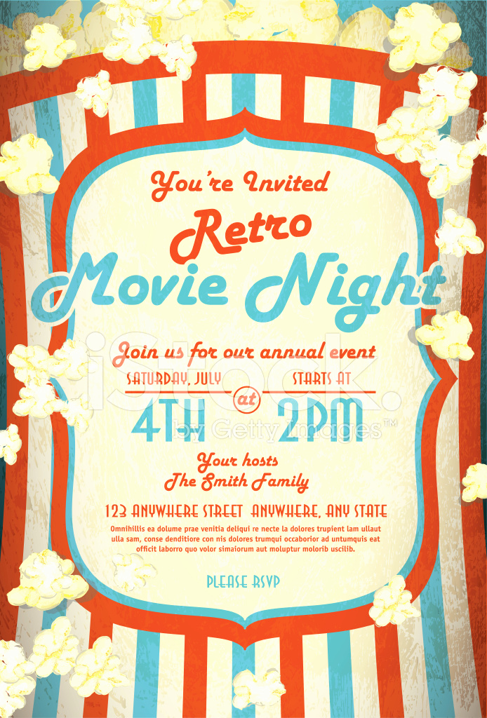 Movie Night Invitation Templates Elegant Retro Movie Night Invitation Design Template Stock Photos