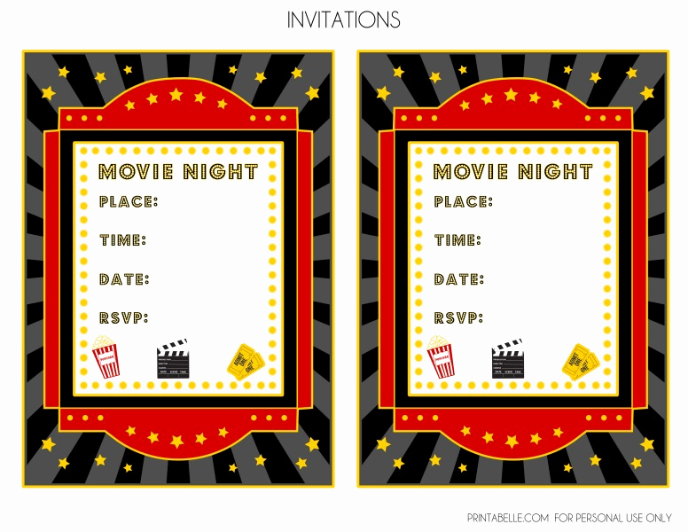 Movie Night Invitation Templates Lovely Free Movie Night Party Printables by Printabelle