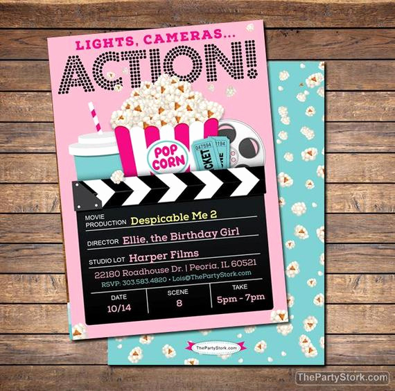Movie Ticket Birthday Invitation Awesome Movie Invitation Movie Party Invitation Printable Girls