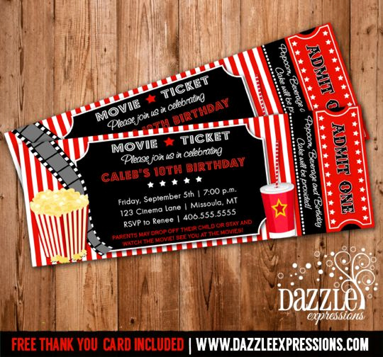 Movie Ticket Birthday Invitation Awesome Movie Ticket Birthday Invitation Thank You Card Included