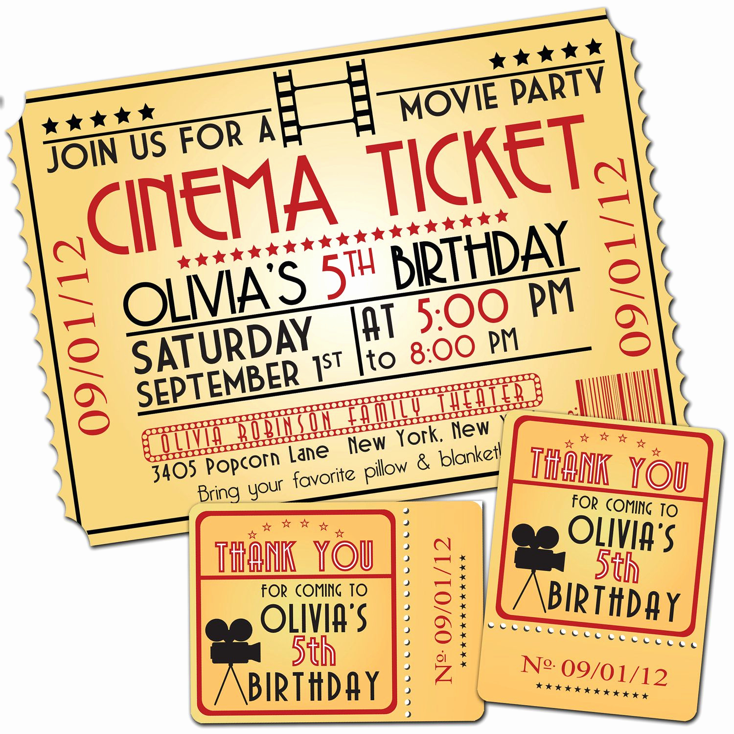 Movie Ticket Birthday Invitation Beautiful Movie Night Birthday Party themed Invitation & Favor Tags