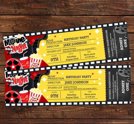 Movie Ticket Birthday Invitation Beautiful Movie Ticket Birthday Invitation Movie Party Invitation
