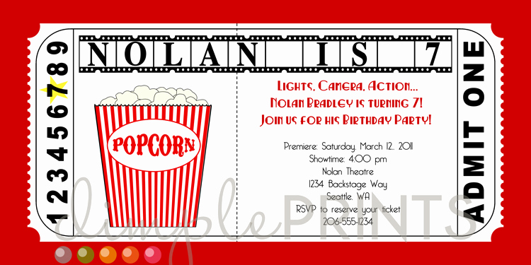 Movie Ticket Birthday Invitation Best Of Movie Ticket Printable Birthday Invitation Dimple Prints