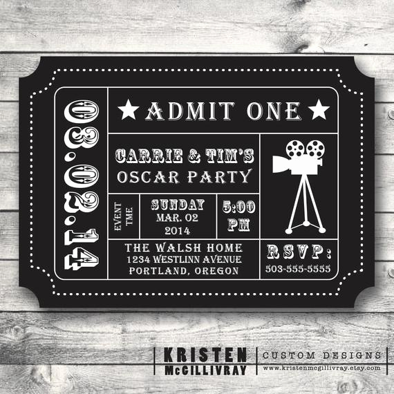 Movie Ticket Birthday Invitation Elegant Oscar Party Invitation Movie Night Party by Kristenmcgillivray