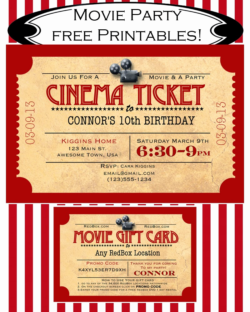 Movie Ticket Birthday Invitation Fresh Like Mom and Apple Pie A Summer Movies Free Printables
