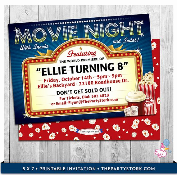 Movie Ticket Birthday Invitation Inspirational Movie Party Invitations