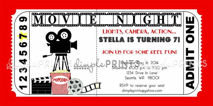Movie Ticket Birthday Invitation Inspirational Movie Ticket Birthday Invitations Ideas – Bagvania Free