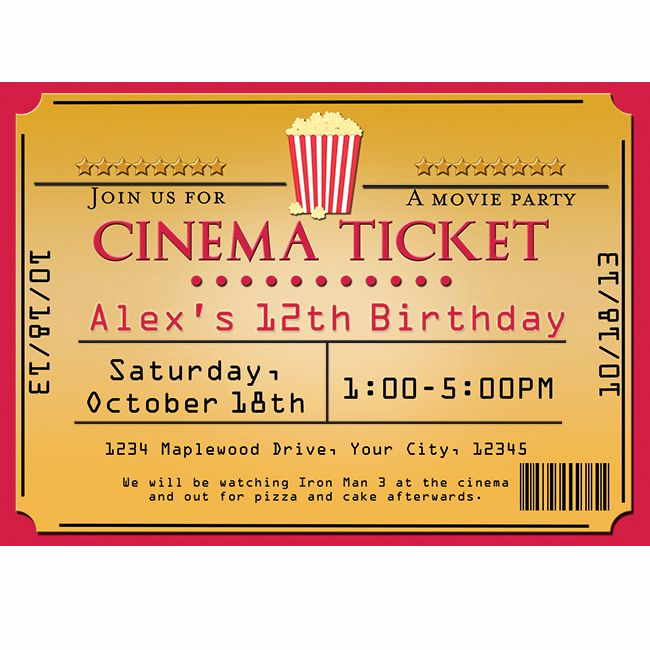 Movie Ticket Birthday Invitation Lovely Cinema Movie theater Popcorn Ticket Birthday Party event