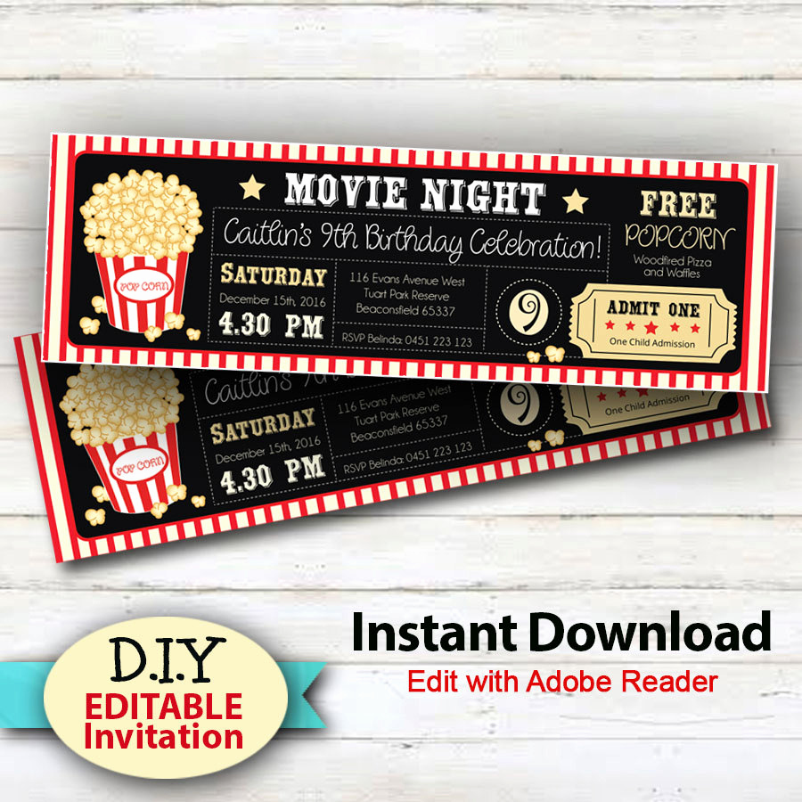 Movie Ticket Birthday Invitation Lovely Editable Instant Download Movie Party Invitations Boy or