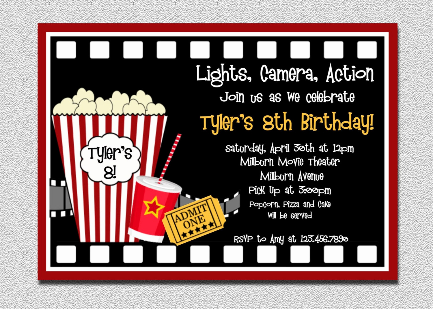 Movie Ticket Birthday Invitation Lovely Movie Birthday Invitation Movie Night Birthday Party