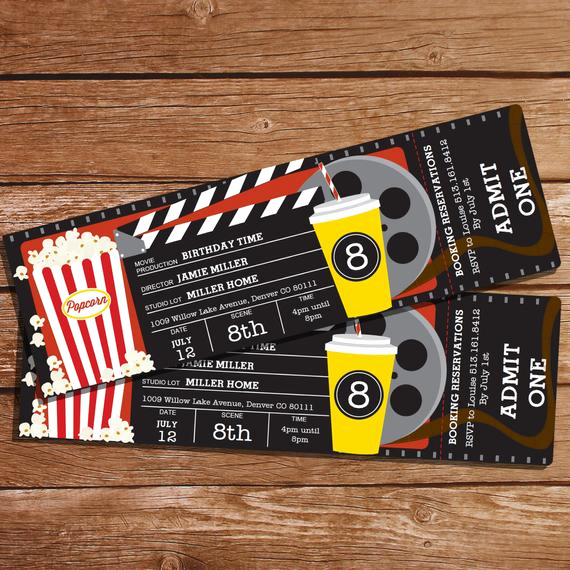 Movie Ticket Birthday Invitation Luxury Movie Party Invitation Movie Ticket Invitation Instant