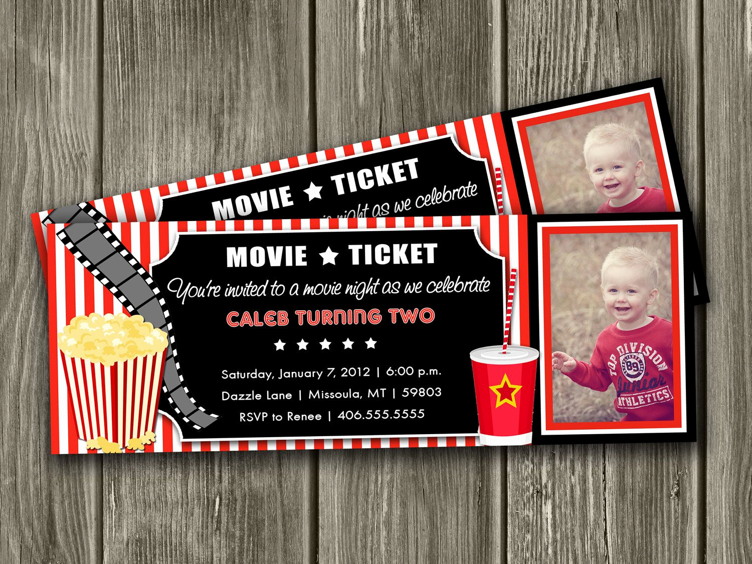 Movie Ticket Birthday Invitation Luxury Movie Ticket Invitation Free Thank You Card by