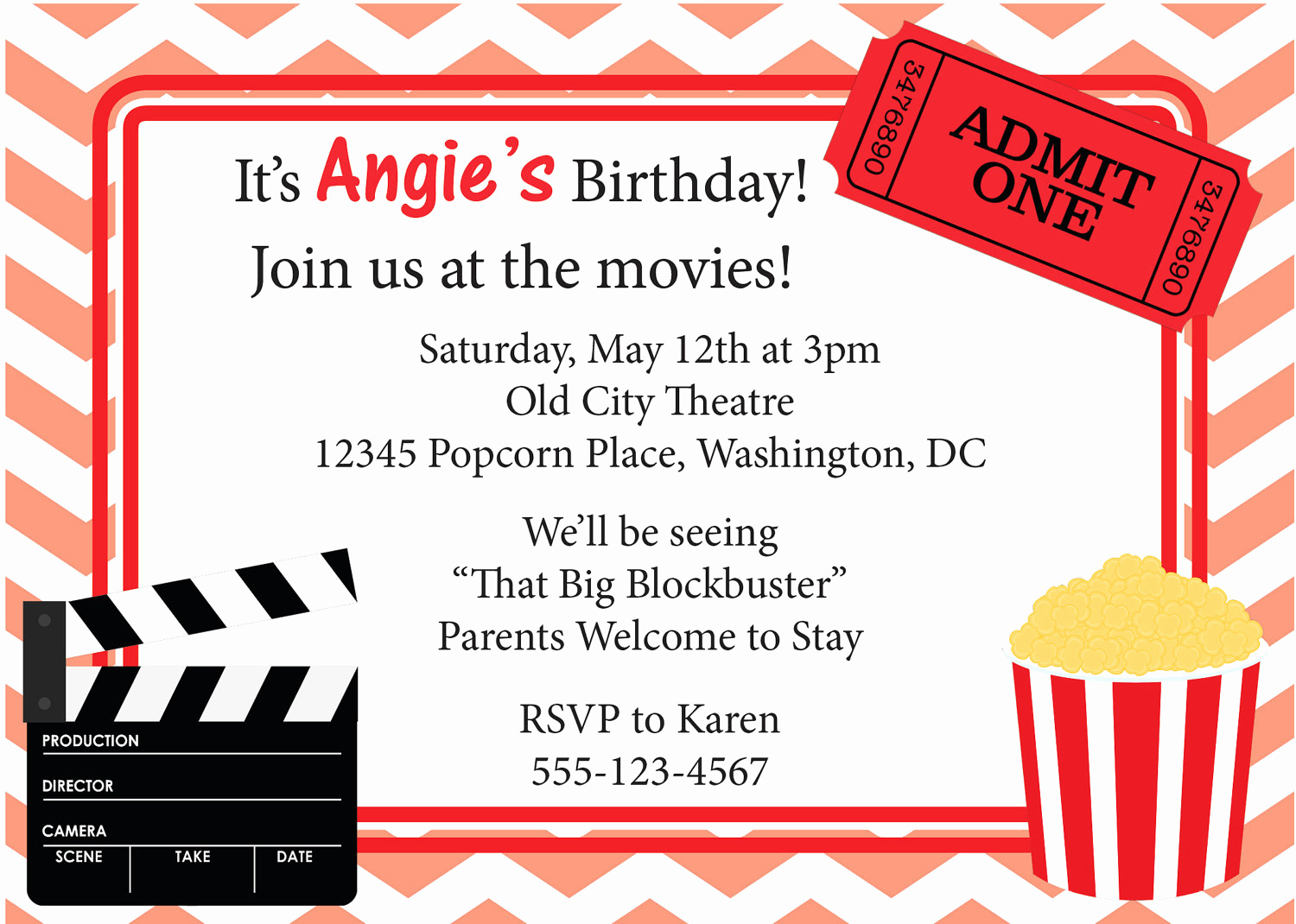 Movie Ticket Birthday Invitation New Movie Night Invitation Birthday Invite Diy by Cowprintdesigns