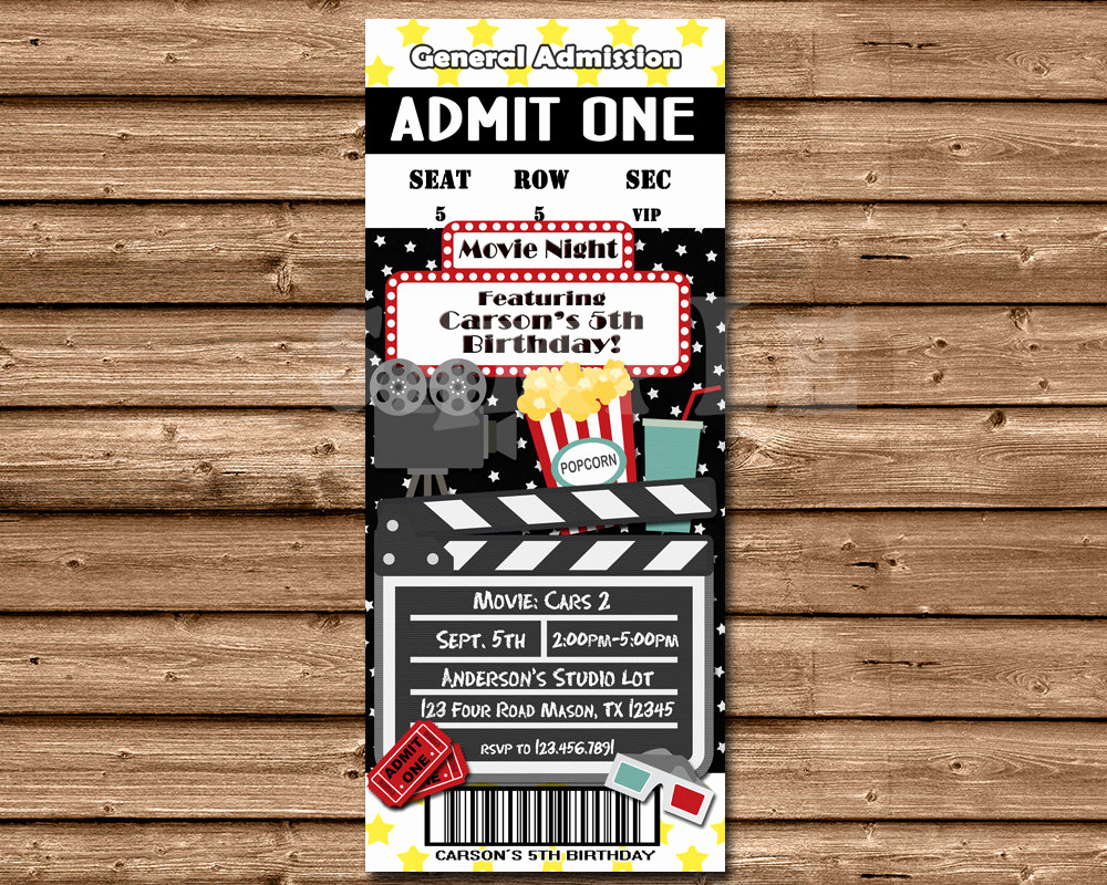 Movie Ticket Birthday Invitation Unique Chandeliers & Pendant Lights