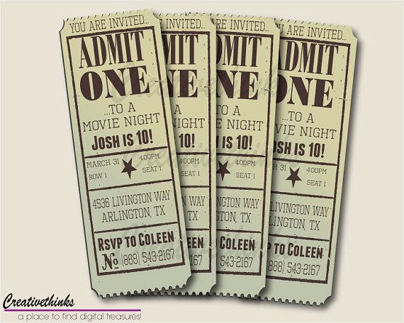 Movie Ticket Invitation Template Awesome Editable Vintage Movie Ticket Invitation Digital File
