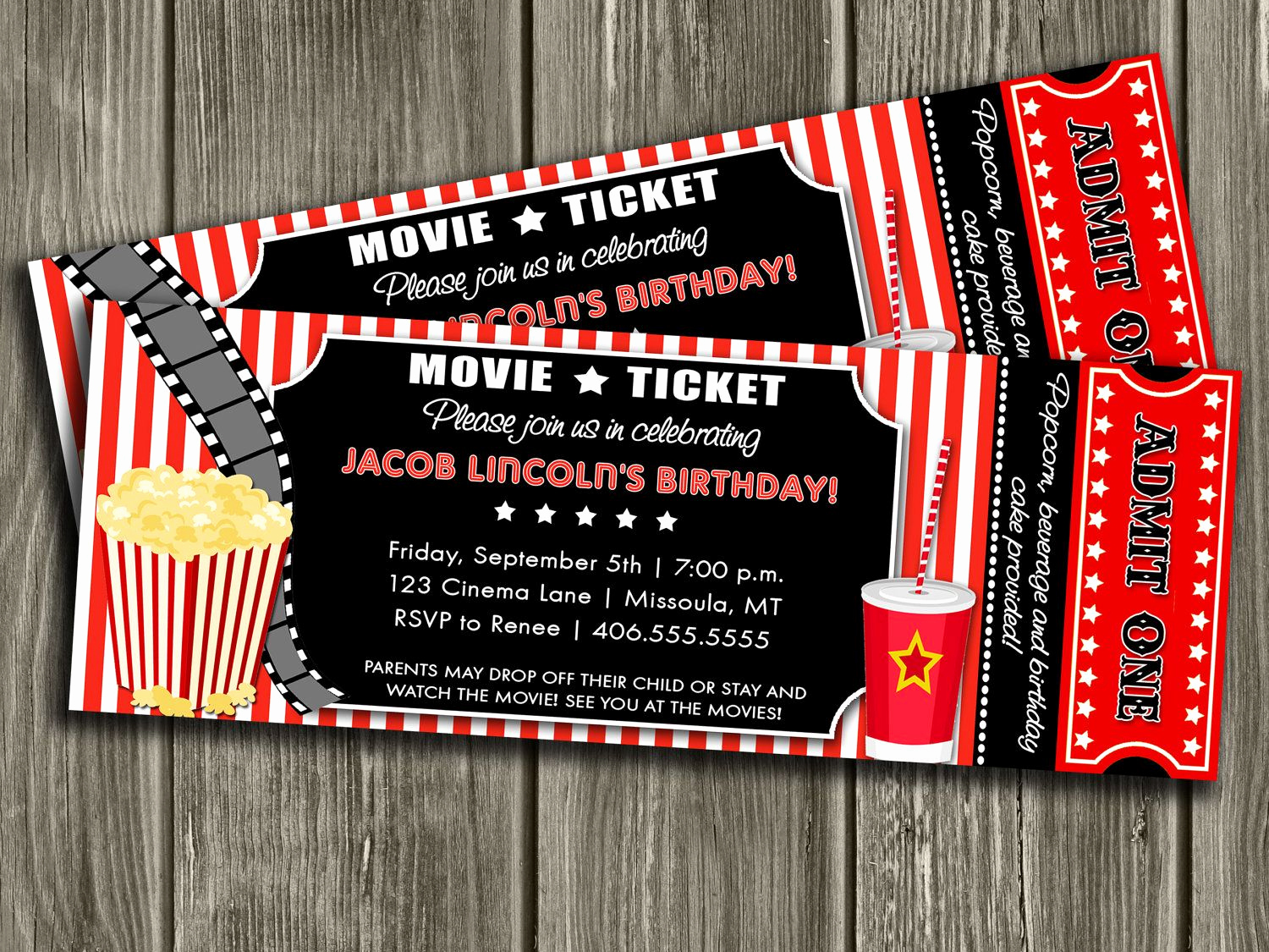 Movie Ticket Invitation Template Awesome Movie Ticket Invitation Free Thank You Card Included