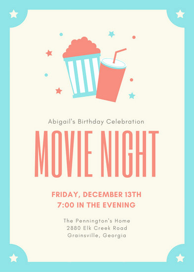 Movie Ticket Invitation Template Beautiful Customize 646 Movie Night Invitation Templates Online Canva