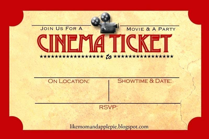 Movie Ticket Invitation Template Best Of Free Printable Movie Ticket Template Picture – Diy Date