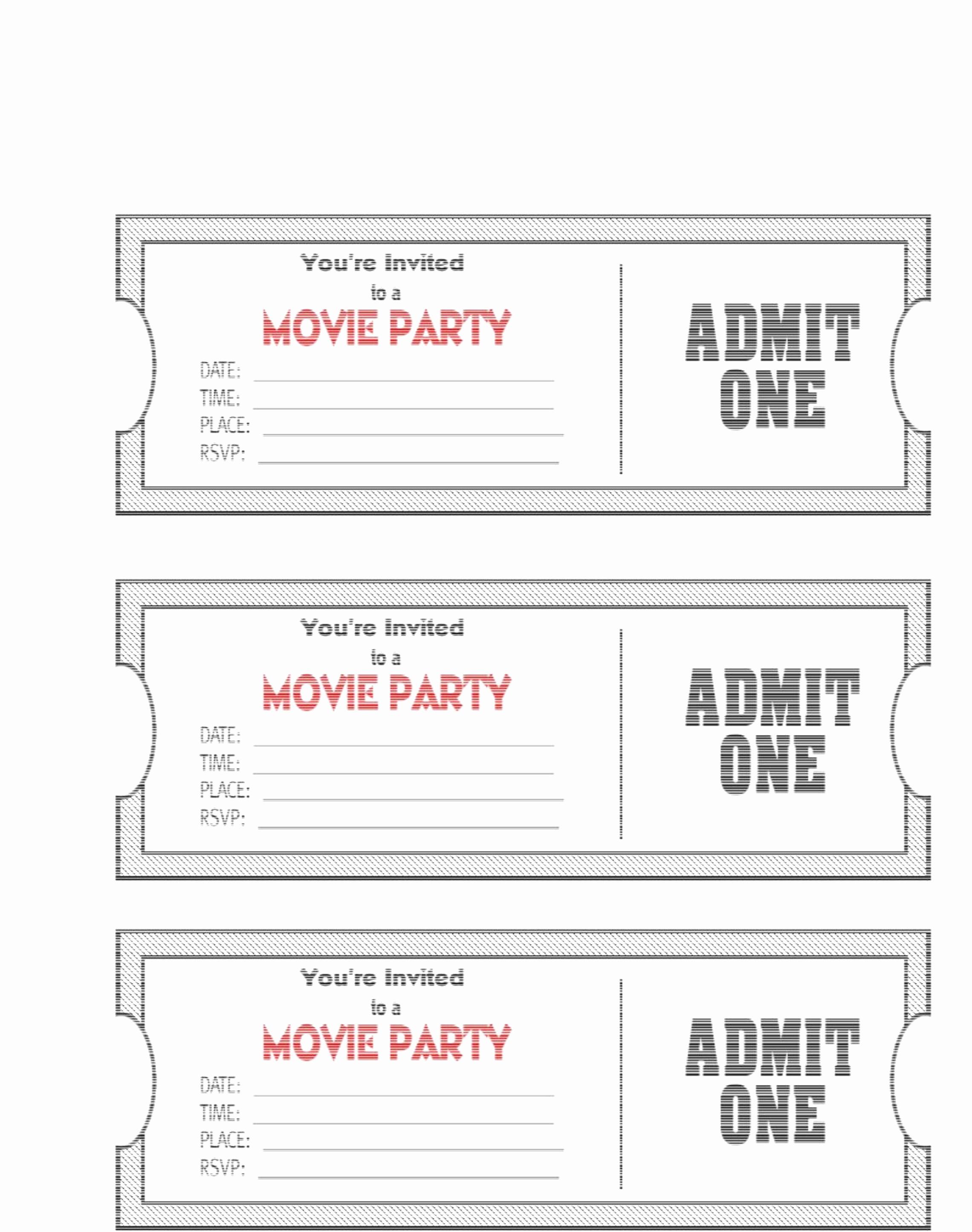 Movie Ticket Invitation Template Elegant Free Printable Movie Ticket Template – 40 Free Editable