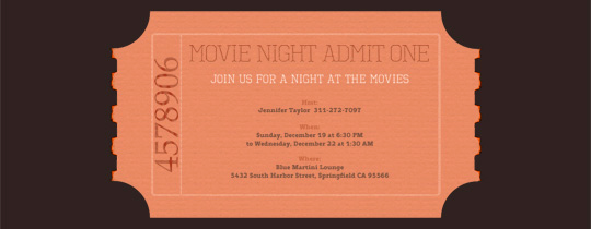 Movie Ticket Invitation Template Free Awesome Movie Tv Night Free Online Invitations
