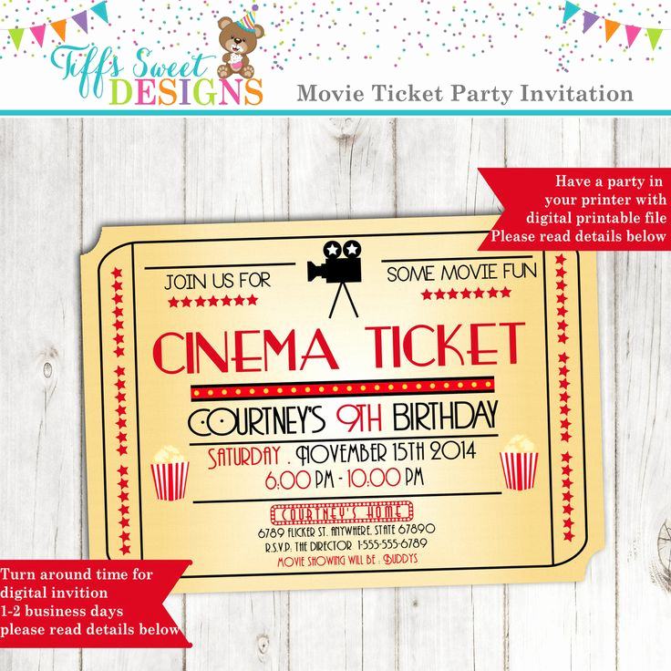 Movie Ticket Invitation Template Free Beautiful 12 Best Girl Birthday Party Invitations Images On
